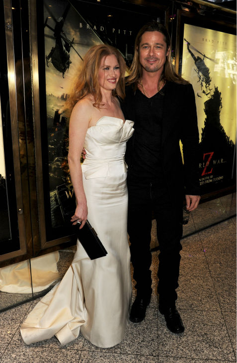 Cast members Mireille Enos and Brad Pitt attend the world premiere of &#39;World War Z&#39; at the Empire Cinema Leicester Square in London on June 2, 2013. <span class=meta>(Dave M. Benett &#47; WireImage for Paramount)</span>