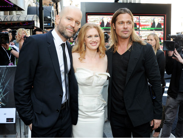 &#40;L-R&#41; Director Marc Forster and cast members Mireille Enos and Brad Pitt attend the world premiere of &#39;World War Z&#39; at the Empire Cinema Leicester Square in London on June 2, 2013. <span class=meta>(Dave M. Benett &#47; WireImage for Paramount)</span>