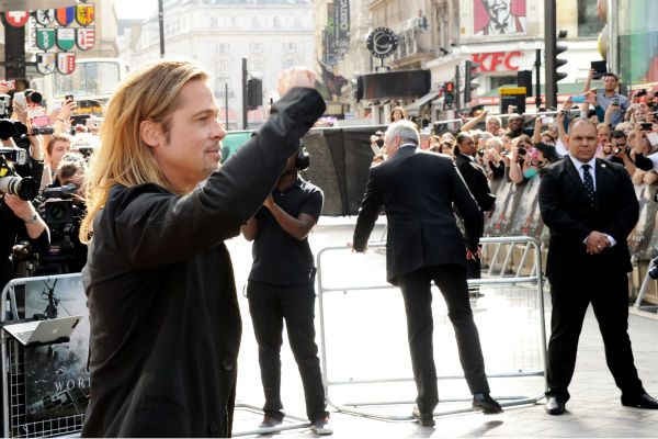 "<div class=""meta image-caption""><div class=""origin-logo origin-image ""><span></span></div><span class=""caption-text"">Cast member Brad Pitt attends the world premiere of 'World War Z' at the Empire Cinema Leicester Square in London on June 2, 2013. (Dave M. Benett / WireImage for Paramount)</span></div>"