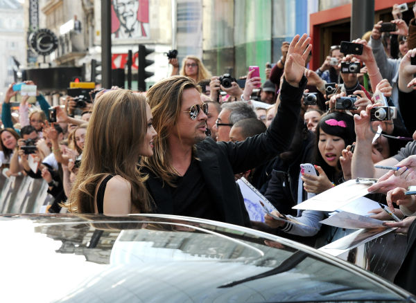 Cast member Brad Pitt and fiancee Angelina Jolie attend the world premiere of 'World War Z' at the Empire Cinema Leicester Square in London on June 2, 2013. It marked her first public appearance since revealing in May that she had undergone a double maste