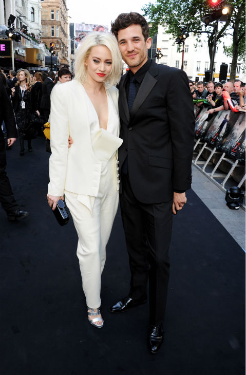 Kimberly Wyatt and Max Rogers attend the world premiere of &#39;World War Z,&#39; which stars fiance Brad Pitt, at the Empire Cinema Leicester Square in London on June 2, 2013. <span class=meta>(Dave M. Benett &#47; WireImage for Paramount)</span>