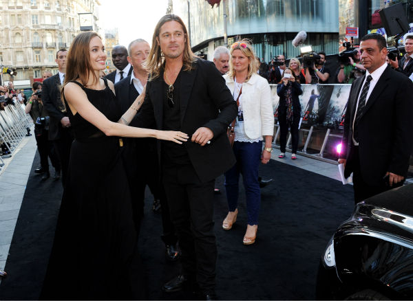 "<div class=""meta ""><span class=""caption-text "">Cast member Brad Pitt and fiancee Angelina Jolie attend the world premiere of 'World War Z' at the Empire Cinema Leicester Square in London on June 2, 2013. (Dave M. Benett / WireImage for Paramount)</span></div>"