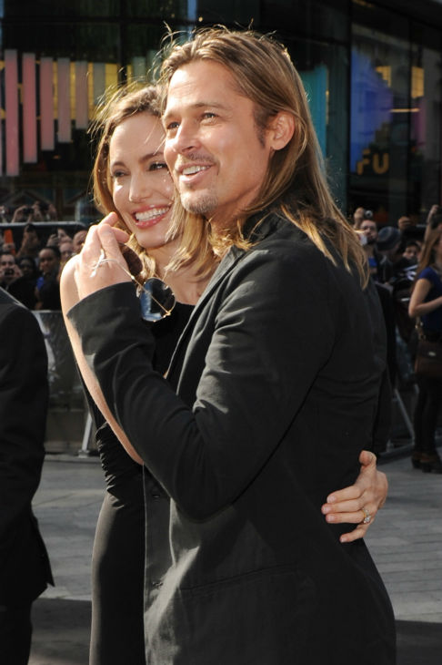Cast member Brad Pitt and fiancee Angelina Jolie attend the world premiere of &#39;World War Z&#39; at the Empire Cinema Leicester Square in London on June 2, 2013. <span class=meta>(Stuart C. Wilson &#47; Getty Images for Paramount Pictures International)</span>