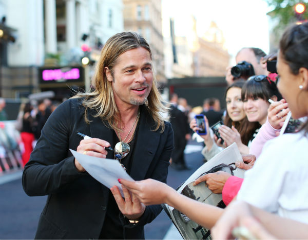 Brad Pitt attends the world premiere of &#39;World War Z,&#39; which stars fiance Brad Pitt, at the Empire Cinema Leicester Square in London on June 2, 2013. <span class=meta>(Lucian Capellaro &#47; WireImage for Paramount)</span>