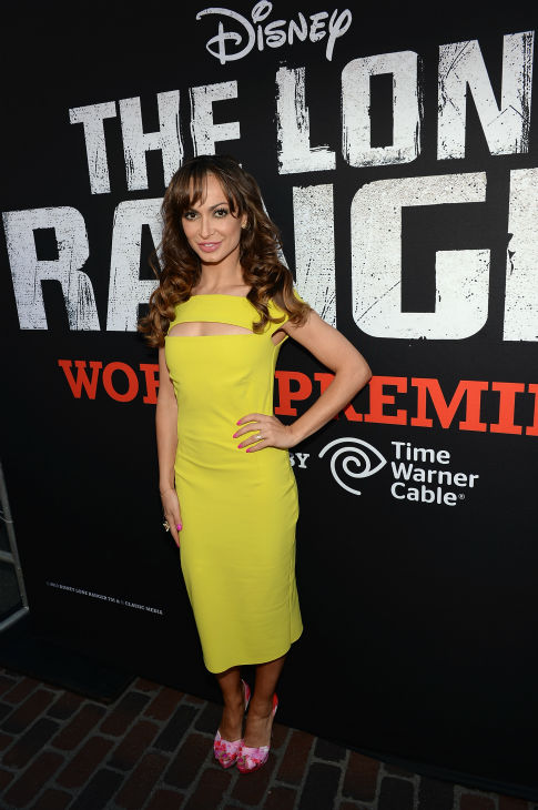 "<div class=""meta ""><span class=""caption-text "">Karina Smirnoff of ABC's 'Dancing With The Stars' attends the world premiere of Disney/Jerry Bruckheimer Films' 'The Lone Ranger' at Disney California Adventure Park in Disneyland in Anaheim, California on June 22, 2013. (Michael Buckner / WireImage / Walt Disney Company)</span></div>"