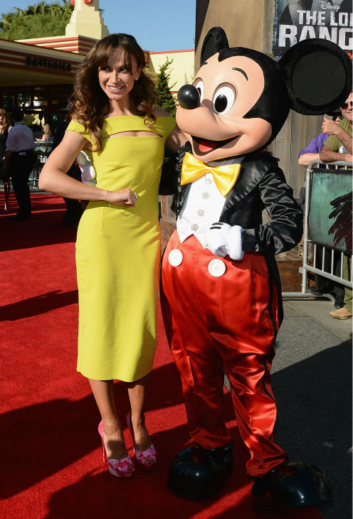 Karina Smirnoff of ABC&#39;s &#39;Dancing With The Stars&#39; and Mickey Mouse attend the world premiere of Disney&#47;Jerry Bruckheimer Films&#39; &#39;The Lone Ranger&#39; at Disney California Adventure Park in Disneyland in Anaheim, California on June 22, 2013. <span class=meta>(Michael Buckner &#47; WireImage &#47; Walt Disney Company)</span>