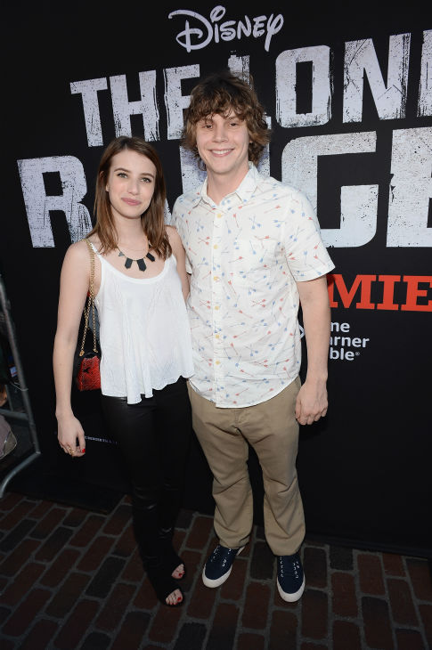 Actors Emma Roberts and Evan Peters &#40;&#39;American Horror Story&#39;&#41; attend the world premiere of Disney&#47;Jerry Bruckheimer Films&#39; &#39;The Lone Ranger&#39; at Disney California Adventure Park in Disneyland in Anaheim, California on June 22, 2013. <span class=meta>(Michael Buckner &#47; WireImage &#47; Walt Disney Company)</span>