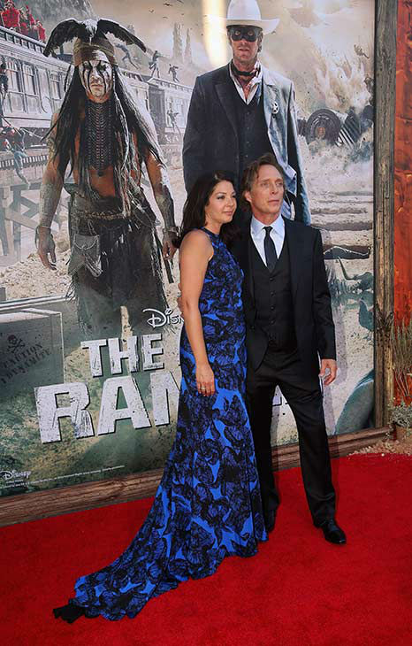 Actors William Fichtner &#40;R&#41; and wife Kymberly Kalil &#40;wearing Juan Carlos Obando&#41; attend the world premiere of Disney&#47;Jerry Bruckheimer Films&#39; &#39;The Lone Ranger&#39; at Disney California Adventure Park in Disneyland in Anaheim, California on June 22, 2013. <span class=meta>(Christopher Polk &#47;  WireImage &#47; Walt Disney Company)</span>