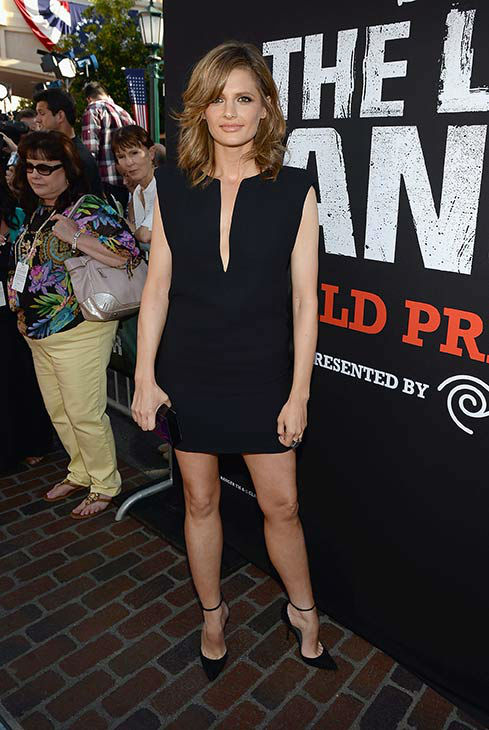 Stana Katic of ABC's 'Castle' attends the world premiere of Disney/Jerry Bruckheimer Films' 'The Lone Ranger' at Disney California Adventure Park in Disneyland in Anaheim, California on June 22, 2013.