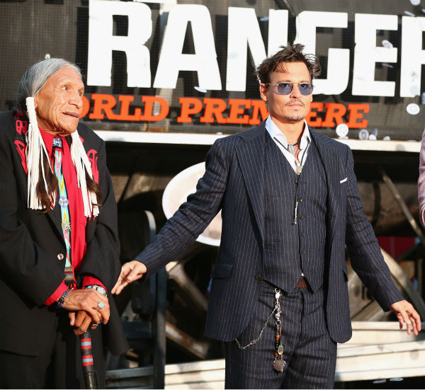 Cast members Saginaw Grant and Johnny Depp attend the world premiere of Disney&#47;Jerry Bruckheimer Films&#39; &#39;The Lone Ranger&#39; at Disney California Adventure Park in Disneyland in Anaheim, California on June 22, 2013. <span class=meta>(Christopher Polk &#47; WireImage &#47; Walt Disney Company)</span>