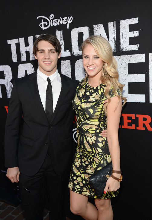 "<div class=""meta image-caption""><div class=""origin-logo origin-image ""><span></span></div><span class=""caption-text"">Steven R. McQueen of The CW series 'The Vampire Diaries' and a guest attend the world premiere of Disney/Jerry Bruckheimer Films' 'The Lone Ranger' at Disney California Adventure Park in Disneyland in Anaheim, California on June 22, 2013. (Michael Buckner / WireImage / Walt Disney Company)</span></div>"