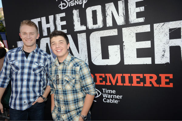 Bradley Steven Perry and Jason Dolley of the Disney Channel series &#39;Good Luck Charlie&#39; attend the world premiere of Disney&#47;Jerry Bruckheimer Films&#39; &#39;The Lone Ranger&#39; at Disney California Adventure Park in Disneyland in Anaheim, California on June 22, 2013. <span class=meta>(Michael Buckner &#47; WireImage &#47; Walt Disney Company)</span>