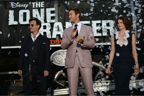 Cast members Johnny Depp, Armie Hammer and Ruth Wilson attend the world premiere of Disney&#47;Jerry Bruckheimer Films&#39; &#39;The Lone Ranger&#39; at Disney California Adventure Park in Disneyland in Anaheim, California on June 22, 2013. <span class=meta>(Michael Buckner &#47; WireImage &#47; Walt Disney Company)</span>