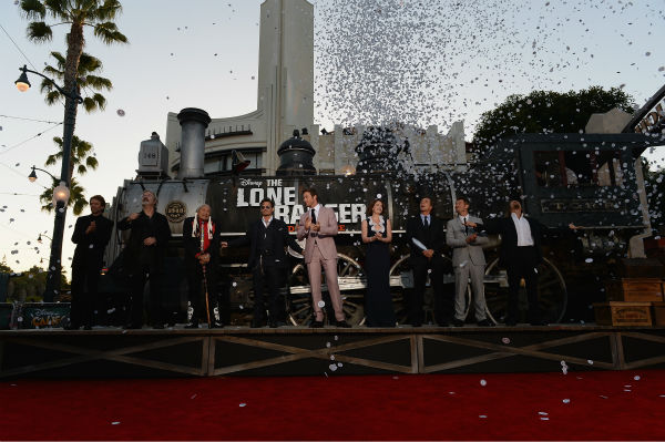 Producer Jerry Bruckheimer, director Gore Verbinski and cast members Saginaw Grant, Johnny Depp, Armie Hammer, Ruth Wilson, William Fichtner, James Badge Dale and Barry Pepper  attend the world premiere of Disney&#47;Jerry Bruckheimer Films&#39; &#39;The Lone Ranger&#39; at Disney California Adventure Park in Disneyland in Anaheim, California on June 22, 2013. <span class=meta>(Michael Buckner &#47; WireImage &#47; Walt Disney Company)</span>