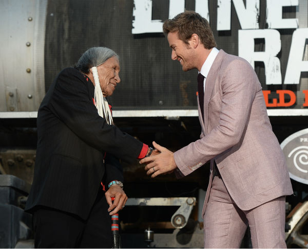 "<div class=""meta ""><span class=""caption-text "">Cast members Saginaw Grant and Armie Hammer attend the world premiere of Disney/Jerry Bruckheimer Films' 'The Lone Ranger' at Disney California Adventure Park in Disneyland in Anaheim, California on June 22, 2013. (Michael Buckner / WireImage / Walt Disney Company)</span></div>"