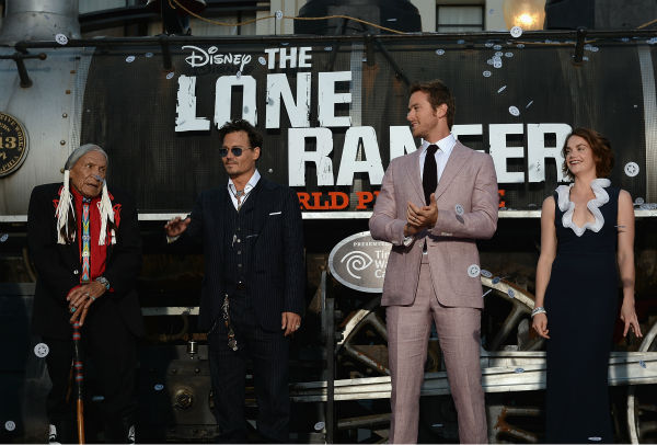 Cast members Saginaw Grant, Johnny Depp, Armie Hammer and Ruth Wilson attend the world premiere of Disney&#47;Jerry Bruckheimer Films&#39; &#39;The Lone Ranger&#39; at Disney California Adventure Park in Disneyland in Anaheim, California on June 22, 2013. <span class=meta>(Michael Buckner &#47; WireImage &#47; Walt Disney Company)</span>