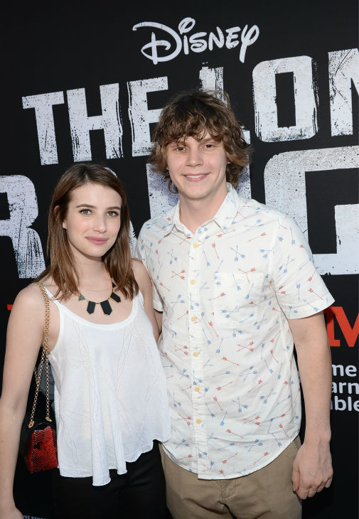 Emma Roberts and Evan Peters attend the world premiere of Disney&#47;Jerry Bruckheimer Films&#39; &#39;The Lone Ranger&#39; at Disney California Adventure Park in Disneyland in Anaheim, California on June 22, 2013. <span class=meta>(Michael Buckner &#47; WireImage &#47; Walt Disney Company)</span>