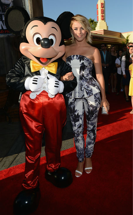 Julianne Hough &#40;formerly of ABC&#39;s &#39;Dancing With The Stars,&#39; star of &#39;Rock of Ages&#39;&#41; and Mickey Mouse attend the world premiere of Disney&#47;Jerry Bruckheimer Films&#39; &#39;The Lone Ranger&#39; at Disney California Adventure Park in Disneyland in Anaheim, California on June 22, 2013. <span class=meta>(Michael Buckner &#47; WireImage &#47; Walt Disney Company)</span>
