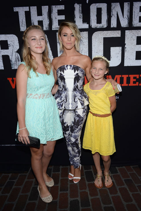 "<div class=""meta ""><span class=""caption-text "">Julianne Hough (C) (formerly of ABC's 'Dancing With The Stars,' star of 'Rock of Ages') and her nieces attend the world premiere of Disney/Jerry Bruckheimer Films' 'The Lone Ranger' at Disney California Adventure Park in Disneyland in Anaheim, California on June 22, 2013. (Michael Buckner / WireImage / Walt Disney Company)</span></div>"
