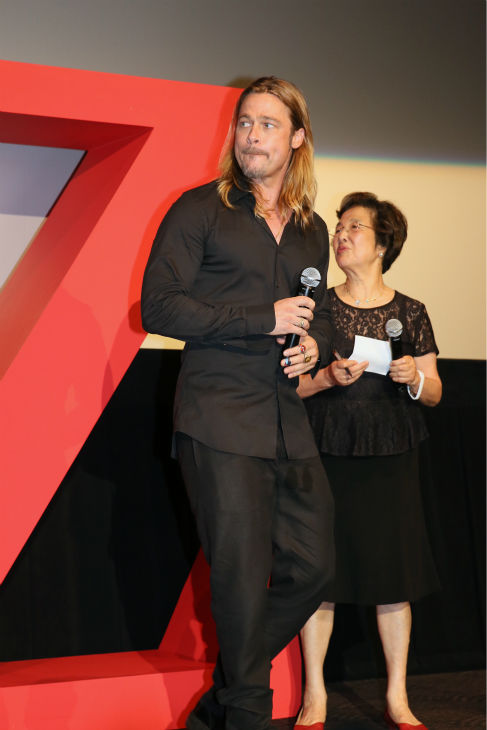 Brad Pitt attends the &#39;World War Z&#39; premiere at Roppongi Hills in Tokyo, Japan on July 29, 2013. <span class=meta>(Ken Ishii &#47; Getty Images for Paramount Pictures)</span>