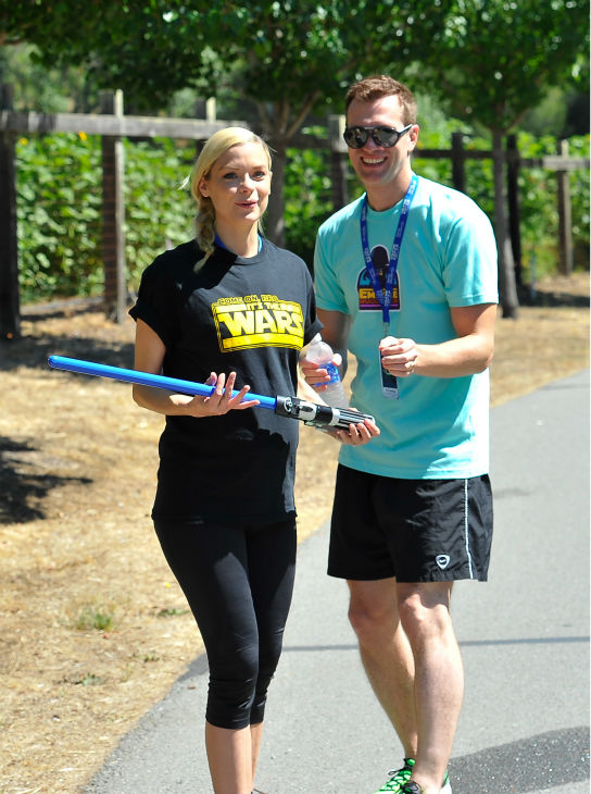 A pregnant Jaime King and husband Kyle Newman attend the Course Of The Force 2013, an &#39;Epic Lightsaber Relay,&#39; benefiting the Make-A-Wish Foundation, at &#39;Star Wars&#39; creator George Lucas&#39; Skywalker Ranch in California on July 9, 2013. <span class=meta>(Steve Jennings &#47; WireImage)</span>