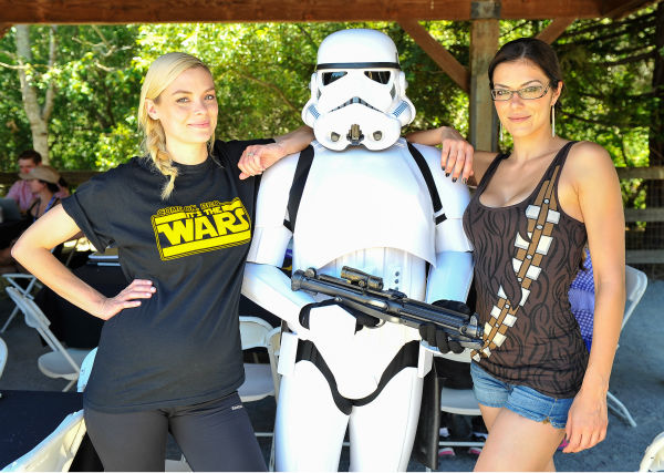A pregnant Jaime King and Adrianne Curry attend the Course Of The Force 2013, an &#39;Epic Lightsaber Relay,&#39; benefiting the Make-A-Wish Foundation, at &#39;Star Wars&#39; creator George Lucas&#39; Skywalker Ranch in California on July 9, 2013. <span class=meta>(Steve Jennings &#47; WireImage)</span>