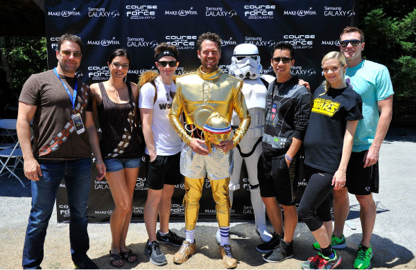 "<div class=""meta image-caption""><div class=""origin-logo origin-image ""><span></span></div><span class=""caption-text"">Todd Rey, Adrianne Curry, Chris Colfer, Alexis Denisof, Jared Eng, Jaime King and Kyle Newman attend the Course Of The Force 2013, an 'Epic Lightsaber Relay,' benefiting the Make-A-Wish Foundation, at 'Star Wars' creator George Lucas' Skywalker Ranch in California on July 9, 2013. (Steve Jennings / WireImage)</span></div>"