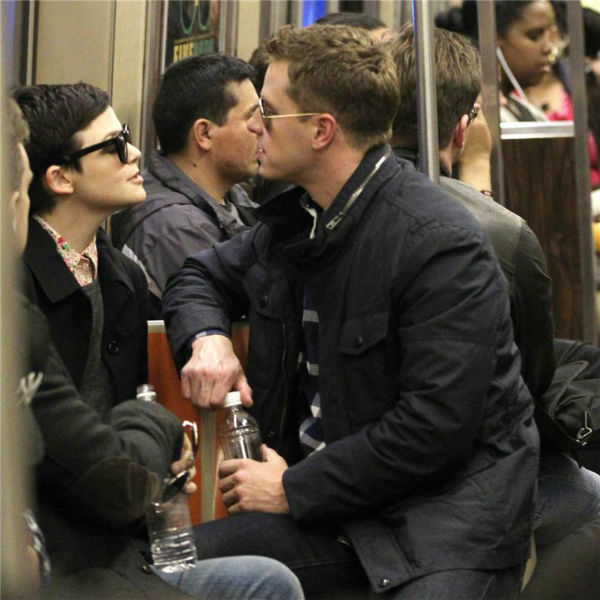 &#39;Once Upon A Time&#39; stars Ginnifer Goodwin and boyfriend Josh Dallas ride a subway with a friend to Yankee Stadium in New York on May 11, 2012. <span class=meta>(Freddie Baez  &#47; Startraksphoto.com)</span>