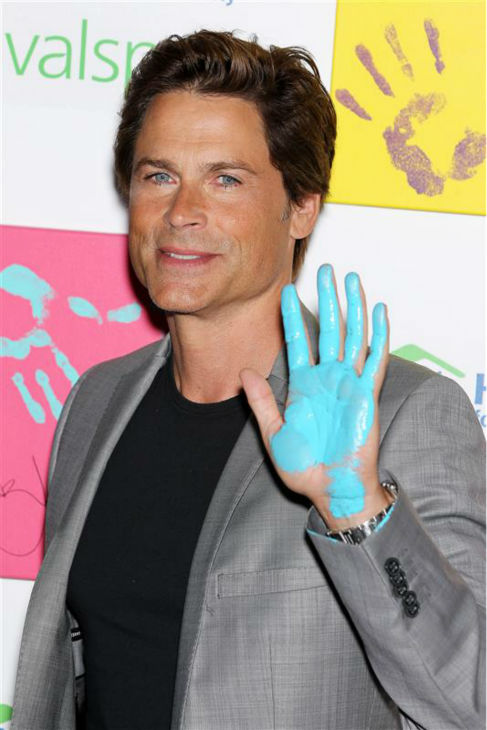 "<div class=""meta ""><span class=""caption-text "">The time Rob Lowe was incredibly good-looking and partially covered in teal paint after co-heading a Habitat For Humanity celebrity handprints project to be auctioned off for charity, in New York on Aug.  22, 2011. (Marion Curtis / Startraksphoto.com)</span></div>"