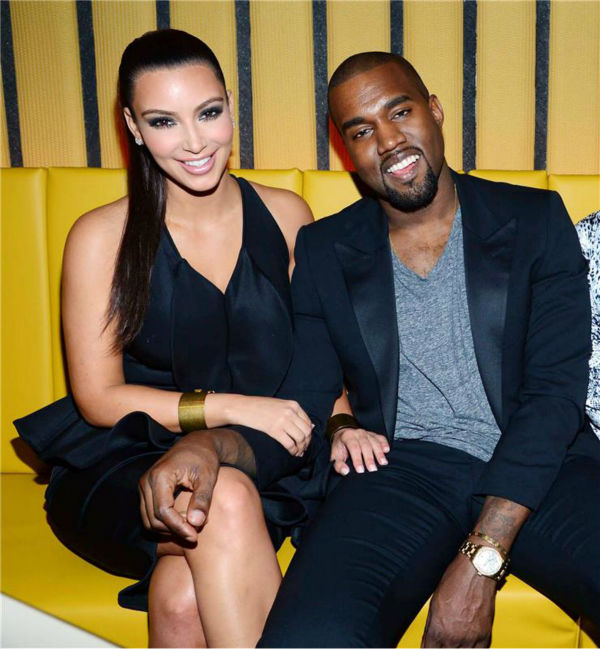 Kim Kardashian appears with boyfriend Kanye West at the RYU restaurant in New York on April 23, 2012.