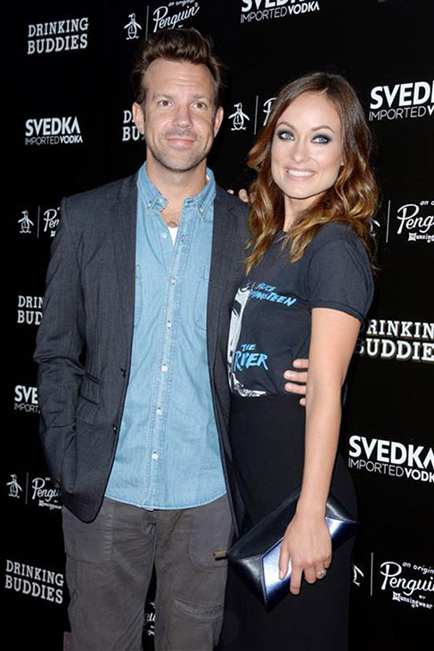 "<div class=""meta ""><span class=""caption-text "">Olivia Wilde, wearing a Bruce Springsteen shirt, and fiance Jason Sudeikis attend the premiere of her film 'Drinking Buddies' at the ArcLight Cinemas in Los Angeles on Aug. 15, 2013. (Lionel Hahn / AbacaUSA / startraksphoto.com)</span></div>"