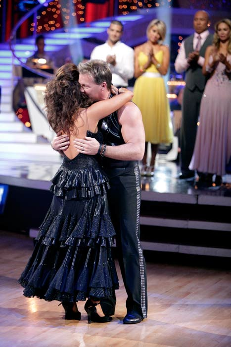 Chris Jericho and his partner Cheryl Burke react to being eliminated. The couple received 22 out of 30 from the judges for their Tango on week six of 'Dancing With The Stars.'