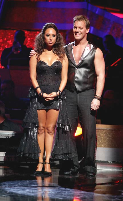 Chris Jericho and his partner Cheryl Burke await...
