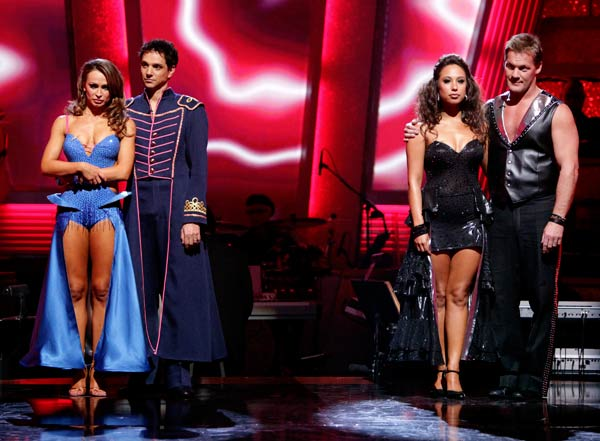 "<div class=""meta ""><span class=""caption-text "">Chris Jericho, Cheryl Burke, Ralph Macchio and his partner Karina Smirnoff await possible elimination on 'Dancing With The Stars: The Result Show' on Tuesday, April 26, 2011. (ABC Photo/ Adam Taylor)</span></div>"