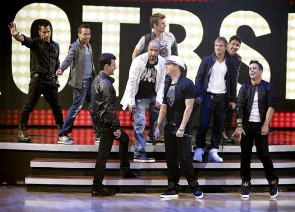 "<div class=""meta ""><span class=""caption-text "">Special musical guests included pop icons New Kids On the Block and Back Street Boys, who performed a two-song medley of their hit songs 'Step by Step' and 'I Want It That Way.' The singers were accompanied by Anna Trebunskaya and Peta Murgatroyd. (ABC Photo/ Adam Taylor)</span></div>"