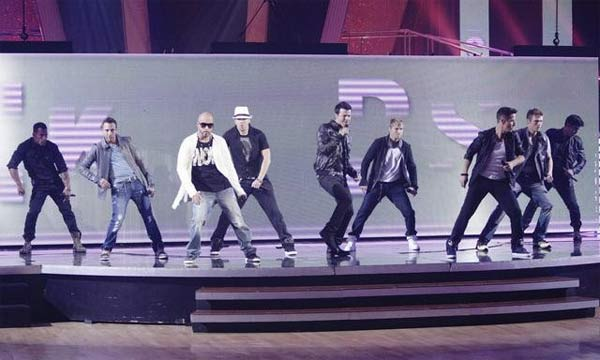 "<div class=""meta image-caption""><div class=""origin-logo origin-image ""><span></span></div><span class=""caption-text"">Special musical guests included pop icons New Kids On the Block and Back Street Boys, who performed a two-song medley of their hit songs 'Step by Step' and 'I Want It That Way.' The singers were accompanied by Anna Trebunskaya and Peta Murgatroyd. (ABC Photo/ Adam Taylor)</span></div>"
