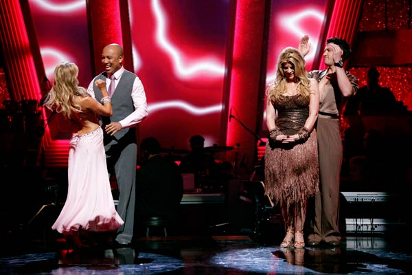 Hines Ward and his partner Kym Johnson react to being safe from elimination. The couple 27 out of 30 from the judges for their Viennese Waltz on week six of 'Dancing With The Stars' on Monday, April 25, 2011.