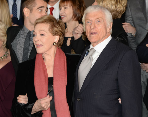 &#39;Mary Poppins&#39; stars Dick Van Dyke, who turns 88 on Dec. 13, 2013 and Julie Andrews, 78, attend the premiere of &#39;Saving Mr. Banks,&#39; which depicts how Walt Disney, played by Tom Hanks, brought the former film to life. The event took place at the Walt Disney Studios in Burbank, California on Dec. 9. <span class=meta>(Jason Merritt &#47; WireImage for Walt Disney Studios)</span>