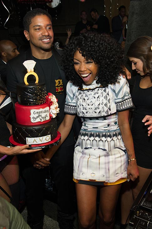 Brandy hosts a New Year's Eve party at the LAVO nightclub in Las Vegas on Dec. 31, 2012. The singer attended the event with fiance Ryan Press.