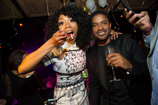 Brandy hosts a New Year's Eve party at the LAVO...