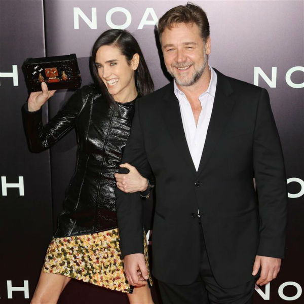 Jennifer Connelly and Russell Crowe appear at the premiere of &#39;Noah&#39; in New York on March 26, 2014. Connelly is wearing a custom-made Louis Vuitton leather and yellow tweed mini-dress. Jennifer Connelly and Russell Crowe appear at the premiere of &#39;Noah&#39; in New York on March 26, 2014. He plays Noah and she plays his wife, Naameh, in Darren Aronofsky&#39;s movie. The two and Connelly&#39;s husband, Paul Bettany,&#39; all appeared in the 2001 movie &#39;A Beautiful Mind,&#39; which earned the actress an Oscar. <span class=meta>(Abaca &#47; Startraksphoto.com)</span>