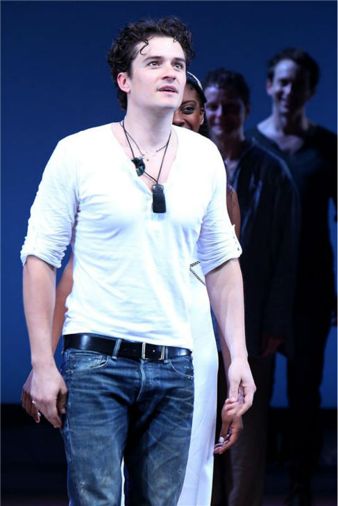 Orlando Bloom appears on stage at the opening night of the play 'Romeo and Juliet,' which marks his Broadway debut, in New York on Sept. 19, 2013. He stars with Condola Rashad, daughter of 'Cosby Show' alum Phylicia Rashad.