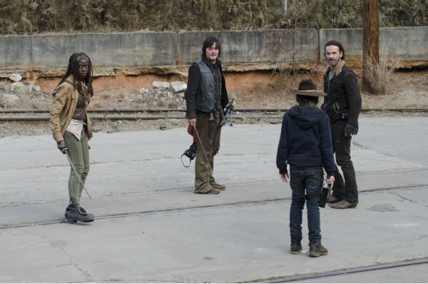 Michonne &#40;Danai Gurira&#41;, Daryl Dixon &#40;Norman Reedus&#41;, Rick Grimes &#40;Andrew Lincoln&#41; and Carl Grimes &#40;Chandler Riggs&#41; appear in Terminus in this scene from AMC&#39;s &#39;The Walking Dead&#39; season 4 finale, which aired on March 30, 2014. <span class=meta>(Gene Page &#47; AMC)</span>