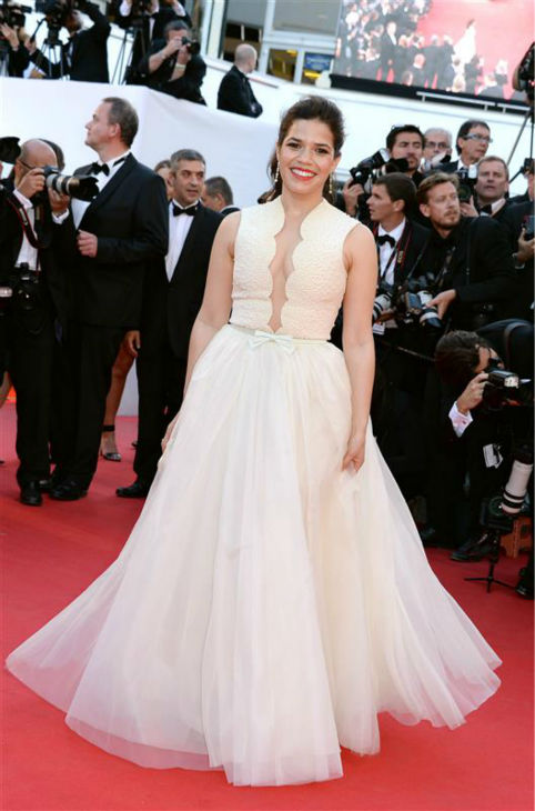 America Ferrera appears at a screening of &#39;How To Train Your Dragon 2&#39; at the 2014 Cannes Film Festival on Friday, May 16, 2014. She is wearing a lemon chiffon Georges Hobeika Spring 2014 Couture ball gown. <span class=meta>(Nicolas Briquet &#47; ABACA &#47; Startraksphoto.com)</span>