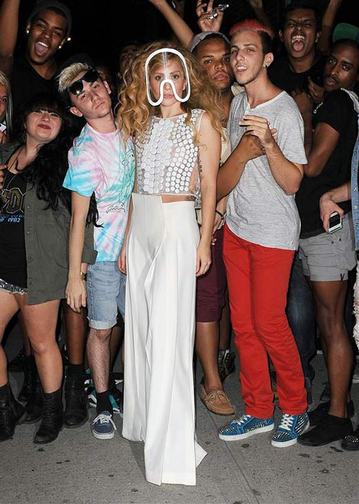 Lady Gaga appears with fans near a recording studio in Clinton, New York on Aug. 21, 2013. She is wearing the same mask she sports in promotional photos for her new album, &#39;ARTPOP.&#39; <span class=meta>(Humberto Carreno &#47; Startraksphoto.com)</span>