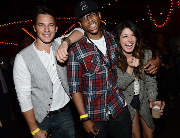Matt Lanter, Tristan Wilds and Shenae Grimes are pictured at Pink Taco in L.A. on Sept. 29, 2012 to celebrate the CW show &#39;90210&#39;s 100th episode, ahead of the season 5 premiere. The guests sipped on SVEDKA Vodka&#39;s specialty cocktail, The Peach Pit Colada, and enjoyed the restaurant&#39;s signature Pink Tacos. <span class=meta>(Michael Buckner &#47; WireImage)</span>