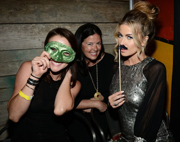 '90210' actress Jessica Stroup and executive producer Shana Stein pose with Carmen Electra at Pink Taco in L.A. on Sept. 29, 2012 to celebrate the CW show's 100th episode, ahead of the season 5 premiere.