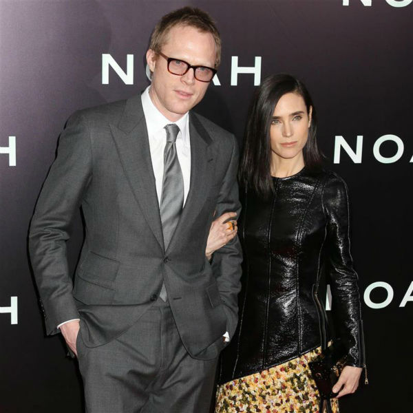 Jennifer Connelly and husband Paul Bettany appear at the premiere of &#39;Noah&#39; in New York on March 26, 2014. The actress, who is wearing a custom-made Louis Vuitton leather and yellow tweed mini-dress, plays Noah&#39;s wife, Naameh, in the movie. The two and main &#39;Noah&#39; star Russell Crowe all appeared in the 2001 movie &#39;A Beautiful Mind.&#39; <span class=meta>(Abaca &#47; Startraksphoto.com)</span>