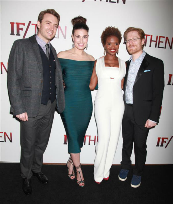 &#39;If&#47;Then&#39; cast members James Snyder, Idina Menzel, LaChanze, Anthony Rapp attend the opening night of the new Broadway musical at the Richard Rodgers Theatre in New York on March 30, 2014. Menzel and Rapp both starred in the 1990s musical &#39;Rent,&#39; playing former couple Maureen and Mark. <span class=meta>(Adam Nemser &#47; Startraksphoto.com)</span>