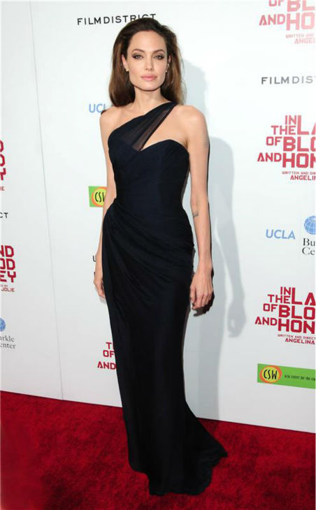 Angelina Jolie attends the premiere of her war romance movie 'In The Land of Blood and Honey,' which she wrote and directed, in Hollywood, California on Dec. 8, 2011.